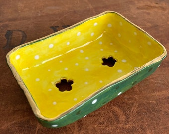 Ceramic Soap Dish.Handmade porcelain soap dish with gold lustre.Easter gift.Spotty soap dish.Luxury ceramic gift.