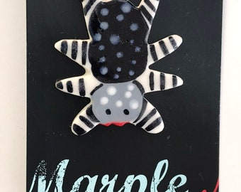 Spider Badge Brooch/pin.Ceramic/Porcelain .Insect badge/animal jewellery.Handmade in Wales,Uk