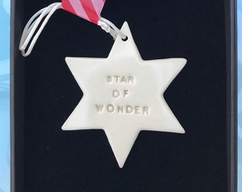 Christmas Decoration.Star decoration .Porcelain Star of Wonder hanging ornament .Christmas Carol.Christmas gift idea.Handmade in Wales,Uk