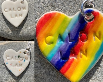 Calon Lan Ceramic Heart Pendant.Calon Lan.Welsh Love Heart Necklace .Porcelain Heart Pendant.Rainbow jewellery.Sterling silver/silver plated