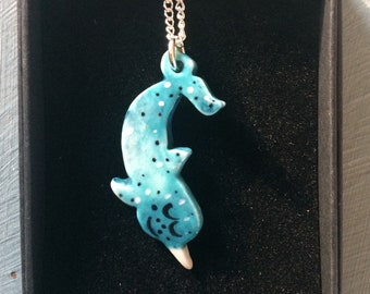 Narwhal Pendant Necklace .Ceramic/porcelain Pendant .Seaside Jewellery.Animal Jewellery .Handmade.Made in Wales,Uk