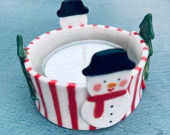 Ceramic Snowman Tea Light Holder .Porcelain Snowman Candle Holder.Christmas Tea light .Scandinavian Christmas gift