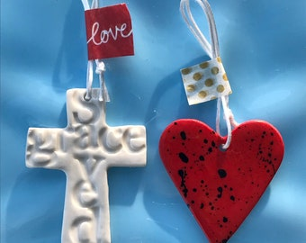 Porcelain Cross and Heart Christian gift.Hanging Ceramic Cross with words saved /grace.Ceramic Decoration/ornament.Handmade in Wales.