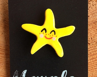 Starfish Brooch/pin/button/badge.Ceramic/Porcelain.Seaside jewellery.Handmade in Wales ,Uk