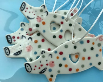 Love heart Pig Decoration.Ceramic Spotty Pig .childs mobile hangers /ceramic /Porcelain.Pig  Ornament.