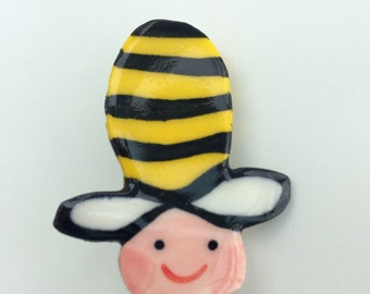 Cute Bumble bee Brooch/pin/button/badge.Ceramic/Porcelain .Kawaii bee badge.Save the bees.Handmade in Wales ,Uk
