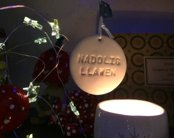 Nadolig Llawen.Welsh Hanging Decorations.Christmas tree decorations/ornament.Stocking Filler.Hand painted.Welsh Language.Handmade in Wales.