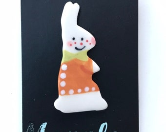 White rabbit Brooch/pin/button/badge.Ceramic/Porcelain.Stocking Filler/animal jewellery.Easter gift.Handmade in Wales ,Uk