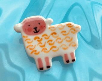 Lamb Brooch/pin/button/badge.Ceramic/Porcelain.Sheep badge.Cute animal jewellery.Welsh badge.Handmade in Wales ,Uk