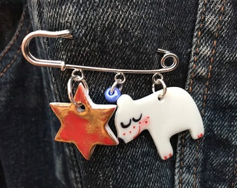 Christmas charm Brooch/pin/button/badge/candy cane charm brooch.Polar Bear/Gold Star and Blue bead/Ceramic/porcelain.Handmade in Wales,Uk
