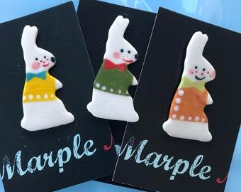 White rabbit Brooch/pin/button/badge.Ceramic/Porcelain.Stocking Filler/animal jewellery.Easter gift.Handmade in Wales ,Uk