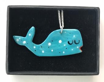 Whale ceramic pendant necklace.Seaside Pendant.Porcelain Necklace.Animal jewellery.Handmade in Wales,Uk.