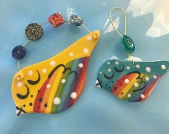 2 Rainbow Birds Hanging Porcelain Decorations.2 Birds Decoration set.Mum and baby bird Rainbow ornament/decoration gift set