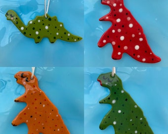 Dinosaur Ceramic Hanging Decoration.Cute Diplodocus and T. rex ornament/Dinosaur decoration/decoration for childs room.