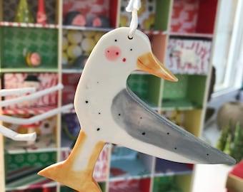 Seagull Decoration.Ceramic Nautical Decoration.Seagull porcelain Ornament.Handmade summer gift.Christmas tree decoration .