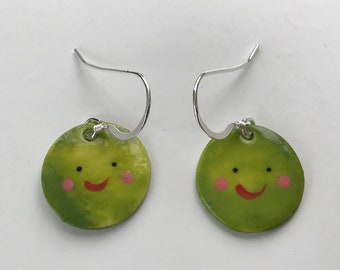 Green Pea earrings.Sterling silver.porcelain pea dangling earrings.Christmas gift.Handmade in Wales,UK.