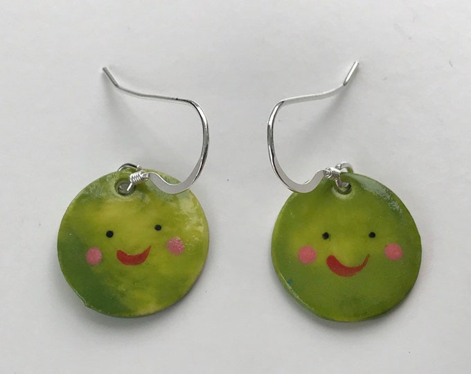 Featured listing image: Green Pea earrings.Sterling silver.porcelain pea dangling earrings.Christmas gift.Handmade in Wales,UK.