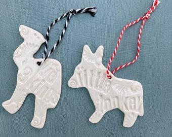 Porcelain Donkey and Camel Decorations.Christmas Carol Decorations.We 3 Kings and little Donkey.Handmade Ceramic Tree Ornament Set.