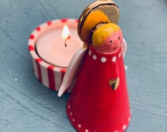 Ceramic Angel Tea Light Holder .Porcelain Angel Candle Holder.Christmas Angel Tea light .Gold lustre. Christmas gift