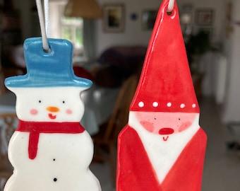 Christmas Tree Decoration set.Snowman & Father Christmas.Hanging Porcelain Decorations.Handmade ceramic Christmas decoration SEt.