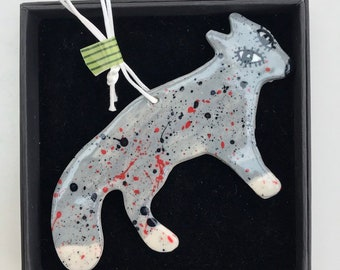 Wolf Decoration.Hanging Ceramic Wolf/Wolf illustration Ceramic Decoration/ornament.Porcelain ornament/Made in Wales,Uk