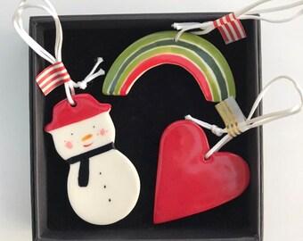 Christmas Tree Decoration set.Snowman,Christmas rainbow,Red heart Hanging Porcelain Decorations.Handmade ceramic Christmas decoration.