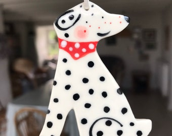 Dog Decoration.Hanging Ceramic Decoration/ornament.Dalmatian Decoration.Dog Lover gift.Handmade porcelain Dalmatian
