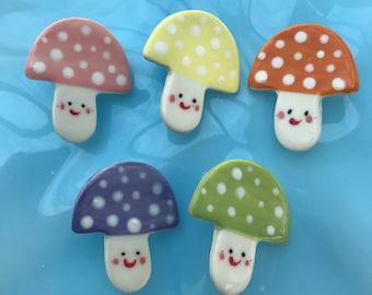 Toadstool Badge/ Brooch/pin/button.Ceramic/Porcelain Jewellery.Pastel Happy Toadstool badge/gift.Handmade in Wales ,Uk