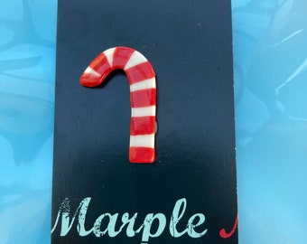 Red stripe Candy Cane Brooch/pin/button/badge.Christmas badge.Ceramic/Porcelain.jewellery.Stocking filler .Handmade in Wales ,Uk
