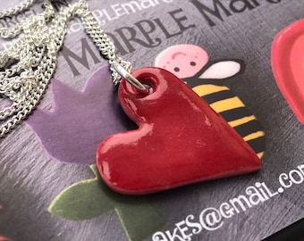 Red heart pendant necklace.Ceramic/Porcelain .love Heart Necklace.Valentine gift.Love Token.Handmade in Wales,Uk.