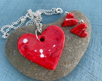 Red or blue heart earrings and pendant.Sterling silver heart stud earrings.Ceramic Jewellery.Handmade porcelain gift set.Romantic gift.