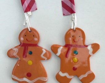 Gingerbread Man and Lady Hanging Decorations.ornament/Christmas decorations.Handmade in Wales,Uk