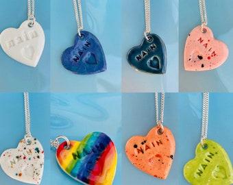 Nain Ceramic Heart Pendant.Nain/Grandma/Gran.Welsh Heart Necklace .Porcelain Heart Pendant .Gift idea Handmade .Made in Wales,Uk.
