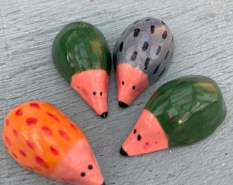 Hedgehog Figurine.Small Ceramic/Porcelain hedgehog.Woodland ornament.Cute animal gift.Handmade in Wales ,Uk
