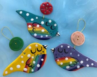 Rainbow Bird Hanging Porcelain Decoration. Bird Ornament.Rainbow ornament/Christmas decorations/stocking filler.Handmade in Wales ,uk.