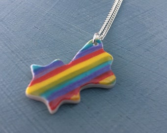 Rainbow Shooting Star ceramic pendant necklace.Rainbow Pendant.Porcelain Necklace.Rainbow jewellery.Handmade in Wales,Uk.