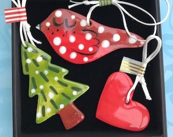 Robin Christmas Tree and Heart Decoration.Tree decoration /Ceramic Decoration/ornament.Stocking Filler.Christmas gift.Handmade