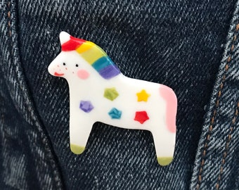Unicorn Brooch/pin/button/badge.Rainbow unicorn badge .Ceramic/Porcelain .Magical animal badge .Cute animal jewellery.Handmade in Wales ,Uk
