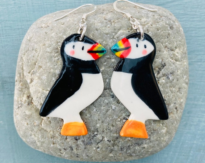 Featured listing image: Puffin Earrings.Ceramic Puffin Sterling Silver earrings.Handmade porcelain .Cute gift .Fun quirky gift for friends or girlfriend.