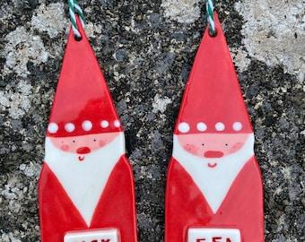 Custom Personalised LaRge Father Christmas Hanging Porcelain Decoration.ornament/Christmas decorations.santa claus.Handmade