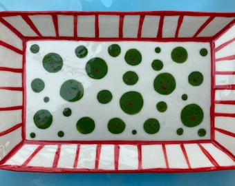 Pea face Ceramic Trinket Dish.Porcelain Pea Dish.Rectangular ceramic/pottery dish.Handmade ceramic dish.Quirky gift