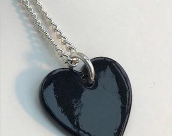 Black heart pendant necklace.Ceramic/Porcelain .love Heart Necklace.Valentine gift.Love Token.Handmade in Wales,Uk.