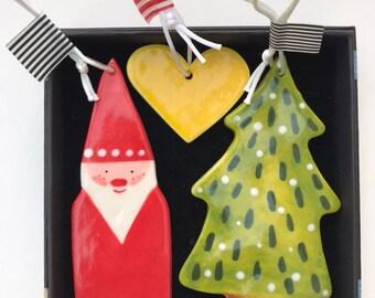 Christmas Tree Decoration Set.Father Christmas,Snowy Tree & heart Porcelain Decorations.Handmade Ceramic Christmas Ornaments.Christmas gift