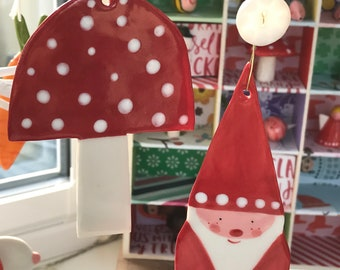Large Toadstool and Santa Hanging Porcelain Decorations.Large ornament/Christmas decorations/Handmade in Wales ,uk.