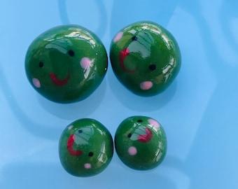 Pea Family .4 Porcelain Peas .4 ceramic green Peas .Cute  gift .Handmade in Wales ,Uk