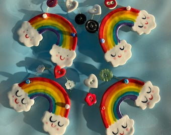 Rainbow Cloud Ceramic Decoration/Rainbow .Porcelain Hanging ornament.Baby gift.Porcelain Rainbow Decoration with buttons .Handmade in uk