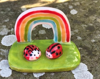 Porcelain Rainbow and ladybird Ornament .Ceramic rainbow with 2 ladybugs .Fairy garden .Handmade in Wales ,Uk