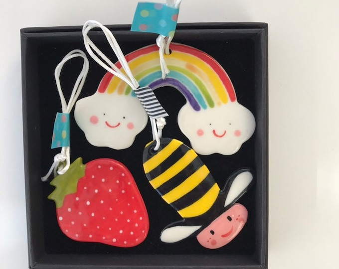 Featured listing image: Bee,Strawberry and Rainbow porcelain decorations.Summer Theme Decorations.Gift for child.Housewarming gift.Ceramic tree Decorations.