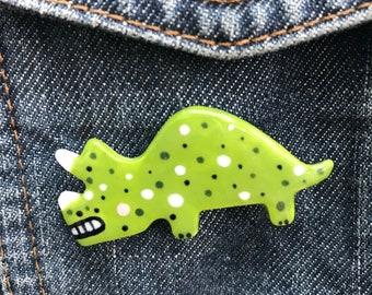Dinosaur Badge/pin/button/badge.Ceramic/porcelain.Triceratops.Handmade.Made in Wales,Uk