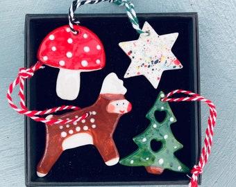 Christmas Tree Decoration set. Reindeer,Christmas Tree,Toadstool and star Hanging Porcelain Decorations.Handmade.Christmas gift .